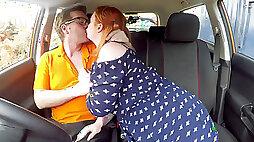Redhead BBW Harley Morgan makes a blowjob and fuck