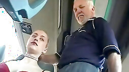 Shy nymph with big breasts gets groped by 2 guys on a bus