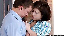 Cute brunette teen first-time anal