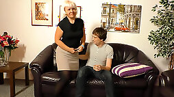 Lusty granny Gabriele H. finds young lover