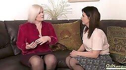 Seductive lesbian video full of mature masturbation fingering and wet pussy eating
