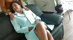 Big tits retro milf chick blowjobs big dick before riding it with hairy pussy