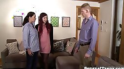 Shemale seduces a couple into passionate threesome blowjobs and fucking