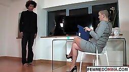 British femdom pegging black sub at the office