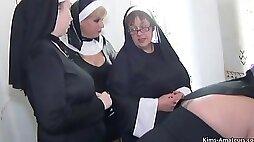 Nun Themed 4 Girl Fun With Bosomy Kim An - nun