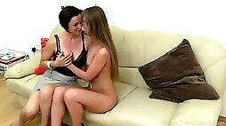 Shy teen girl and hot lesbian MILF at casting