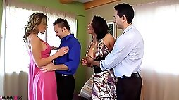 Nicki Hunter and Nikki Sexx in a hardcore bisexual foursome