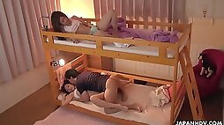 Sleepy dorm chick Saya Aika gets her wet pussy tickled and licked a bit