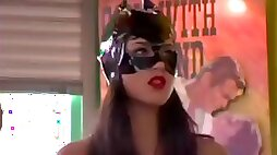 Sunny Leone In A Hardcore Cat Mask Action