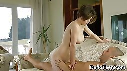 Chesty virgin riding cock for the first time