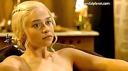 Emilia Clarke Bare and Bang-Out from Game Of Thrones On ScandalPlanetCom