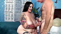 Silver Daddy Proudly Shows His Mammoth Dick To Tatooed BBW Slut