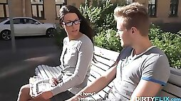 Goody-goody in glasses gets fucked and jizzed on the first date