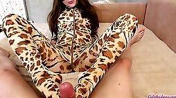 Teen Blowjob Big Dick and Footjob in Leopard Costume - Cumshot POV