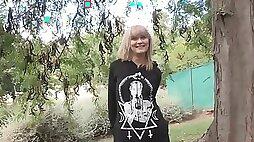 European big ass blonde Yunnox teased outdoor