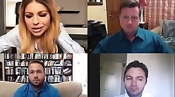 Huge tits employee Brooklyn Chase did not know it was a video chat