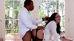 Kinky secretary in black stockings takes BBC in her anal hole