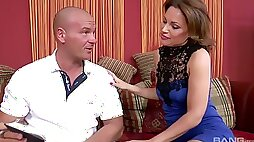 Lucky masseur gets treated with BJ and fucks naughty Sharone mish