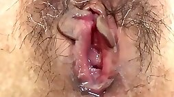 Hairy pussy Asian MILF fucked in homemade video tape with internal creampie cumshot