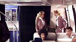 Arab meet 2 hawt stewardess and fuck the one and the other of em during the time that in air planes