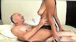 Old man fuck a young latina girl