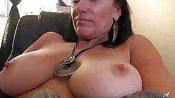 Mature slut Sugar Sweet rubbing pussy on the desk office chair