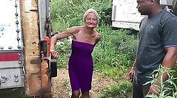 Outdoor interracial with granny