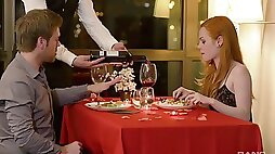 Romantic dinner ends with a good fuck at the hotel