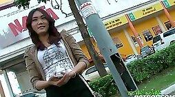 Sexy Shy Thai Girl Happy To Take On Big White Cock