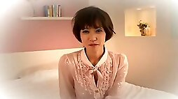 Adorable Japanese girl is doing casting couch interview