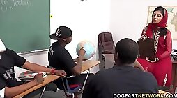 Arab teacher gets fucked by her black students in classroom