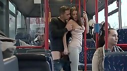 Amateur European couple having hot sex in the bus