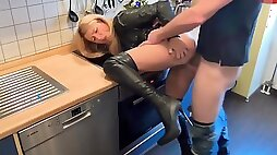 Charming wife shagged rough in the kitchen