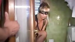 Masked blonde wife down for some freaky stuff