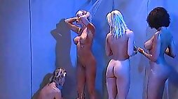 Oiled ass lesbian Debi Diamond moaning while her pussy is licked