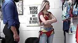 Muscular guy fucks small boobs blonde shoplifter Delilah Day