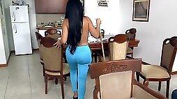 PAWG maid Casandra fucked hard and spunked over on hidden camera