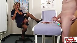 Nurse naughty makes cfnm loser jerk off