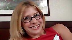 Cute Blond Eighteen Years Old Gets Her First Time Cock Sucking Voyeur