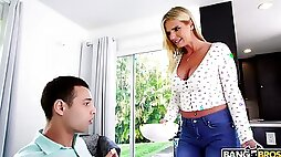 Hot mommy with big boobs Rachael Cavalli bangs 19 yo stepson spying on her
