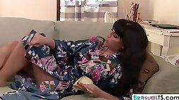 Raunchy shemale with big tits plows cock hungry mature cougar