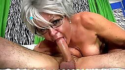 My Chunky Grandmom Gags On Huge Young Cock Of Lucky Chap