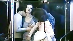 Sex-starved bimbos get brutally fucked in public place