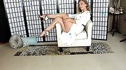 Nude Pantyhose White Dress Sexy Legs And Feet Tease Sweetstreats Leg Show Foot Fetish Series