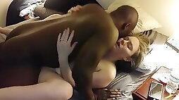 White wife gets bbc cream pie then husband fucks her