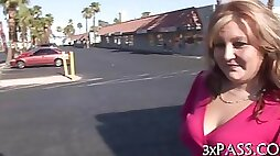 Jiggly blonde babe gets fucked by a fatty lover for cash