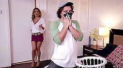 Stepmom Krissy Lynn lets stepson stick his young cock into her cunt
