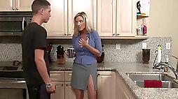 Mommy loves her stepson with giant dick in kitchen