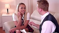 Schoolgirl rides the big pole in restless manners