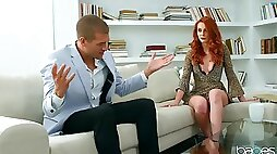 Hot redhead enjoys intimate oral fun along with crazy riding